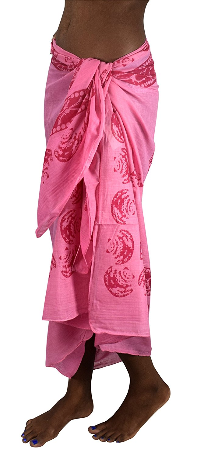 Multi Purpose Hawaiian Scarves Pareo Beach Wraps Sarongs Pink Shells