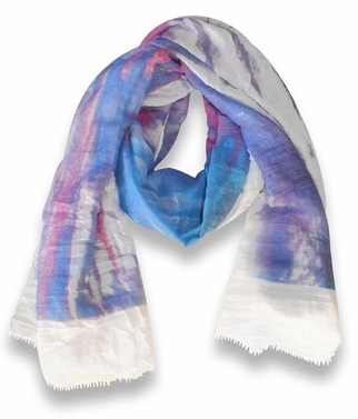 Multicolor Abstract Feather Flower Light Eyelash Fringe Scarf (Coral/Purple)