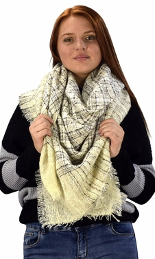 Multicolor Tartan Plaid Oversized Blanket Scarf Shawl Wrap Poncho (Cream)