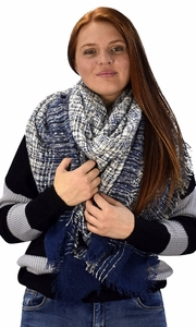Multicolor Tartan Plaid Oversized Blanket Scarf Shawl Wrap Poncho (Navy)