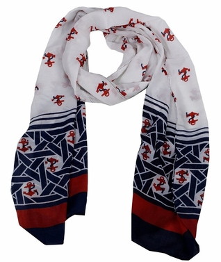 Nautical Anchor Patriotic All American Navy Scarf Wrap Shawl (White/Red/Blue)