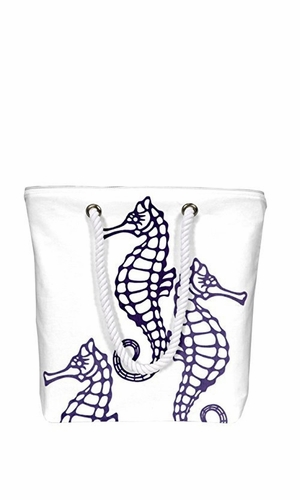 Nautical Seahorse Bags Pure Cotton Canvas Bags Beach Bags Handbags Purses Tote Bags Laundry Bags Violet
