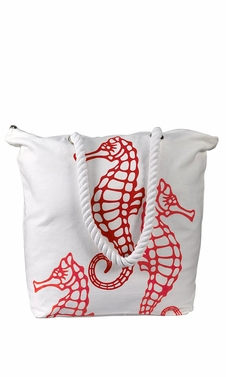 Nautical SeaHorse Bags Pure Cotton Canvas Bags Beach Bags Hobo bags Handbags Purses Tote Bags Picnic Bags Red