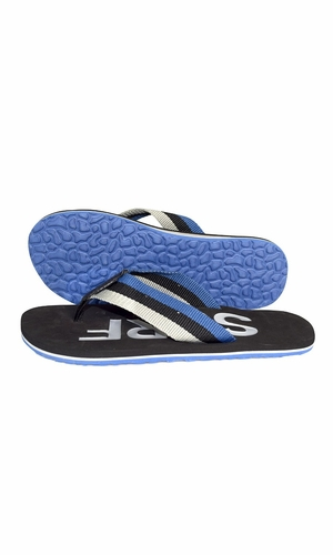 Nautical Summer Men's Beach Summer Flip-Flops Sandals Slippers Black Blue