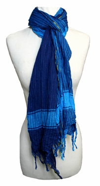 Sleek and Chic Long Plaid Scarf (Navy/Turquoise)