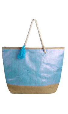 Peach Couture Gold Weave Large Travel Tote Hobo Handbags Shoulder Bags Blue Silver