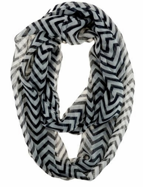 New Trendy Black Lightweight & Sheer Classic Chevron Infinity Loop Scarf