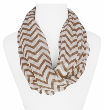 New Trendy Brown Lightweight & Sheer Classic Chevron Infinity Loop Scarf