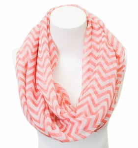 New Trendy Coral Lightweight & Sheer Classic Chevron Infinity Loop Scarf