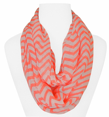 New Trendy Orange Lightweight & Sheer Classic Chevron Infinity Loop Scarf