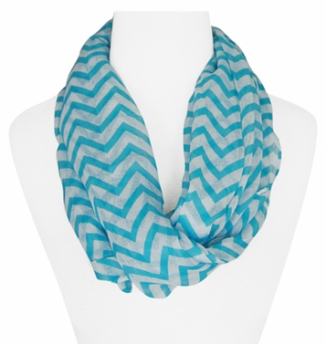 New Trendy Turquoise Lightweight & Sheer Classic Chevron Infinity Loop Scarf