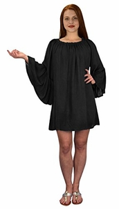 Off Shoulder Flutter Sleeve Beach Cover Ups Tunic Dress Black