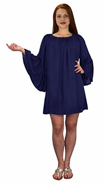 Off Shoulder Flutter Sleeve Beach Cover Ups Tunic Dress Navy