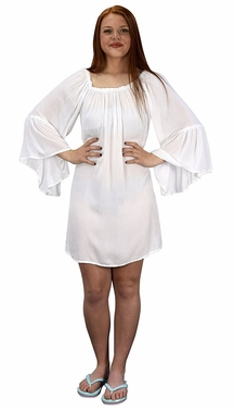 Off Shoulder Flutter Sleeve Beach Cover Ups Tunic Dress White