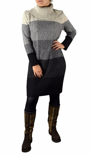 Ombre Cable Knit Cowl Neck Sweater Dress Grey