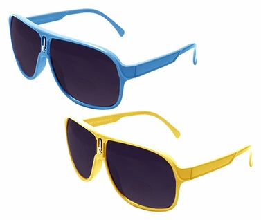 Over-sized Aviator Style Sunglasses with Thick Colorful Frame (2 Pack Blue and Yellow)