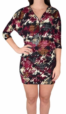 Oversized Pullover Zip-Neck Fall Dolman Top Dress (Abstract Magenta)