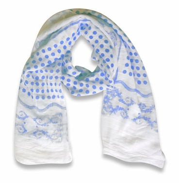 Paisley Bordered Polka Dot Print Lightweight Eyelash Fringe Scarf (Blue)