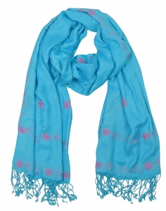 Vintage Floral Hand Embroidered Pashmina Shawl Scarf (Turquoise)