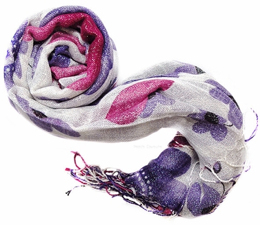 Pashmina Shawl Purple Flower