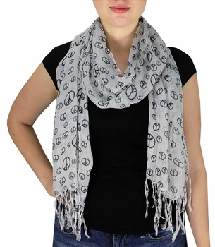Peace & Love Print Scarf (White)