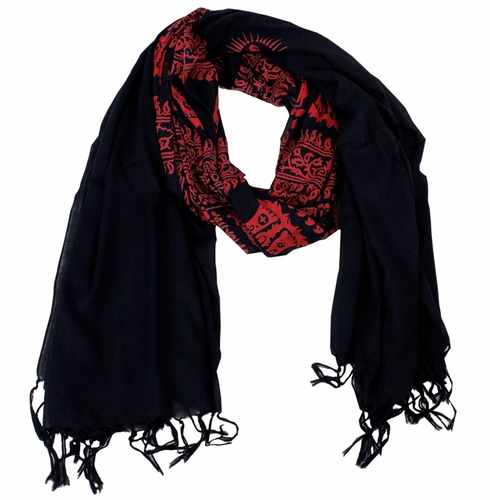 Women's Peace and Love Mantra Printed Fashion Scarf (Black and Red)