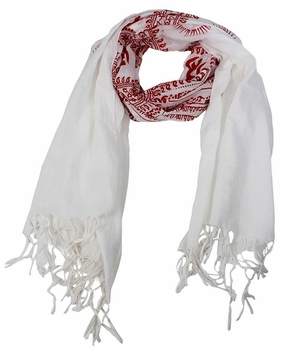 Women's Peace and Love Mantra Printed Fashion Scarf (White Red)