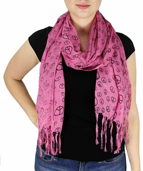 Peace & Love Print Scarf  (Hot Pink)