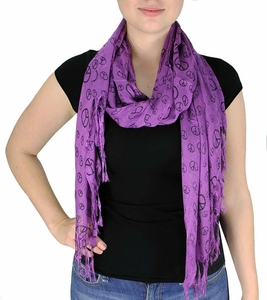 Peace & Love Print Scarf  (Purple)