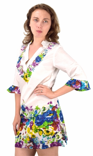Peach Couture 100% Cotton Bohemian Floral Summer Tunics Beach Cover Ups Blue Purple