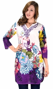 Peach Couture 100% Cotton Bohemian Floral Summer Tunics Beach Cover Ups Purple