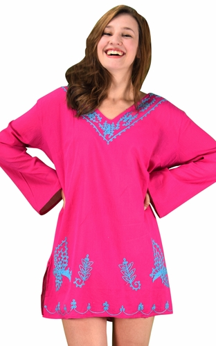 Peach Couture 100% Cotton Embroidered Summer Tunics Beach Cover Ups Pink