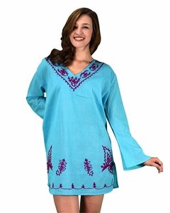 Peach Couture 100% Cotton Embroidered Summer Tunics Beach Cover Ups Sky Blue