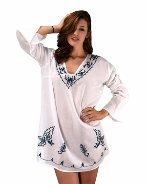 Peach Couture 100% Cotton Embroidered Summer Tunics Beach Cover Ups White