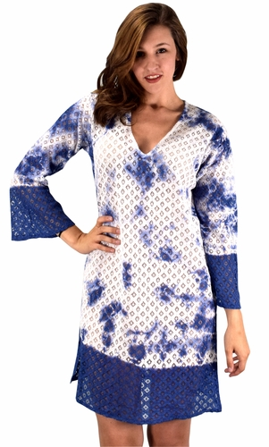 Peach Couture 100% Cotton Womens Crochet Lace Tunics Summer Cover Ups Beach Wear Blue
