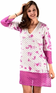 Peach Couture 100% Cotton Womens Crochet Lace Tunics Summer Cover Ups Beach Wear Fuchsia