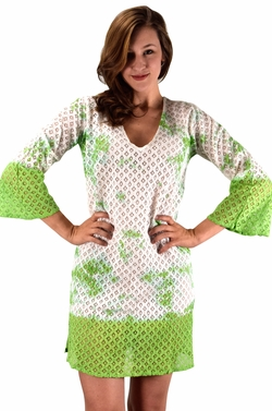 Peach Couture 100% Cotton Womens Crochet Lace Tunics Summer Cover Ups Beach Wear Green
