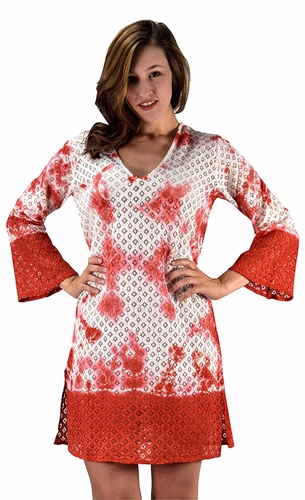 Peach Couture 100% Cotton Womens Crochet Lace Tunics Summer Cover Ups Beach Wear Red