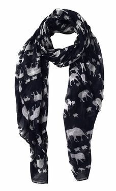 Animal Print Artsy Elephant Flower Soft and Flowing Scarf (Black)