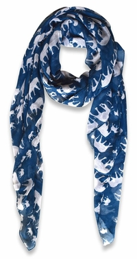 Animal Print Artsy Elephant Flower Soft and Flowing Scarf (Blue)