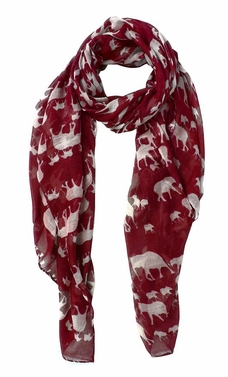 Animal Print Artsy Elephant Flower Soft and Flowing Scarf (Burgundy)