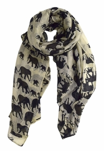 Animal Print Artsy Elephant Flower Soft and Flowing Scarf (Cream)