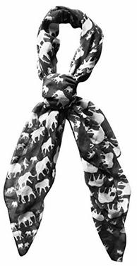Animal Print Artsy Elephant Flower Soft and Flowing Scarf (Grey)