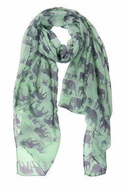 Animal Print Artsy Elephant Flower Soft and Flowing Scarf (Mint)