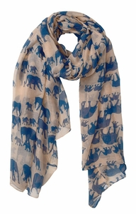 Animal Print Artsy Elephant Flower Soft and Flowing Scarf (Peach)