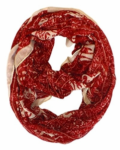 Aztec Tribal Elephant Colored Border Infinity Loop Wrap Scarf  (Red)