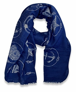 Beach Nautical Shell Coral Beach Cover Up Light Fringe Shawl Scarf (Navy Circle)