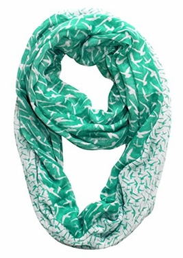 Beautiful Vintage Two Colored Bird Print Infinity Loop Scarf (Teal/White)