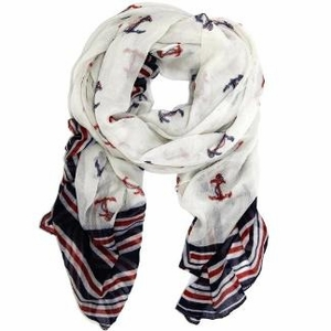 Blue & Red Patriotic All American Navy Olympic Anchor Scarf Wrap shawl
