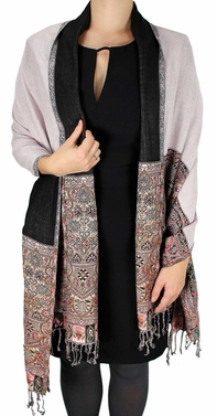 Boho Paisley Reversible Double Layer Pashmina Shawl  (Light Pink)